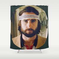 tenenbaum Shower Curtains featuring Richie Tenenbaum by VAGABOND