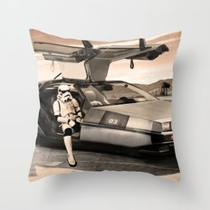 2 Stormtrooopers in a Hover DeLorean  Throw Pillow