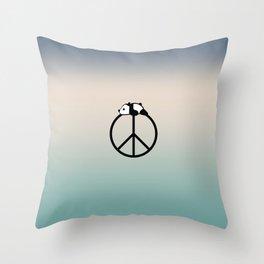 Peace and panda Throw Pillow