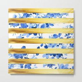 GOLD flower pattern Metal Print