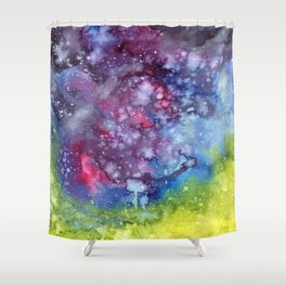 Abstract Galaxy Shower Curtain