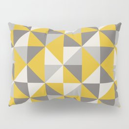 Retro Triangle Pattern in Yellow and Grey Pillow Sham