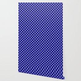 Large Navy Blue Check Pattern Wallpaper