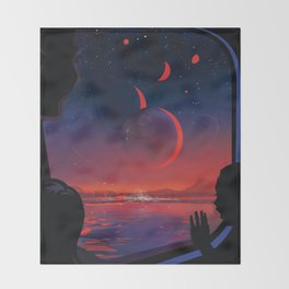 NASA Retro Space Travel Poster #13 - TRAPPIST-1e Throw Blanket