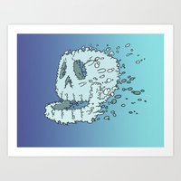 Bubble Skull - Beneath the waters surface lurks a skull in search of it's destiny Art Print