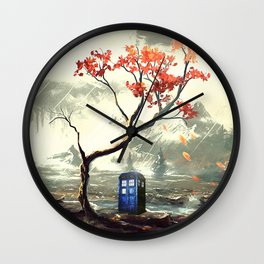 Tardis With A Tree Wall Clock