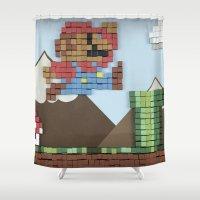 super mario Shower Curtains featuring Cardboard Super Mario by DLS Design