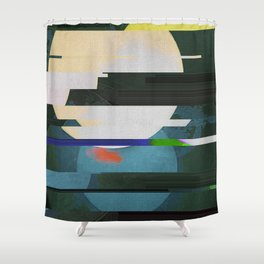 Fractures In Teal Shower Curtain