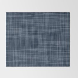 Blue and White Grid - Disorderly Order Throw Blanket