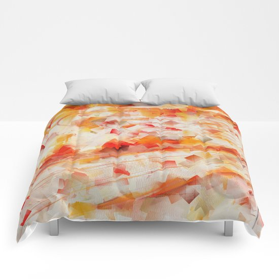 Abstract cubism orange and red Version 1 Comforters
