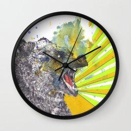 Roaring Bear Animal Watercolor Painting Wall Clock