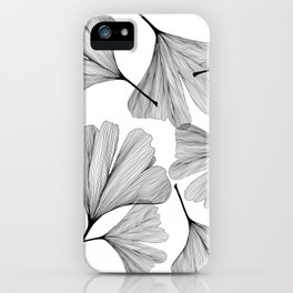 Gingko black and white line drawing iPhone Case