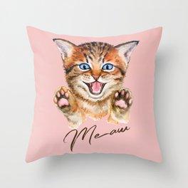 Watercolour meaw kitten Throw Pillow