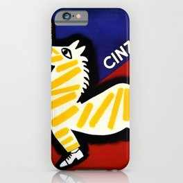 Vintage Cinzano Italian Yellow Zebra Advertisement Wall Art iPhone Case
