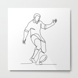 Rugby Player Kicking Ball Continuous Line Metal Print