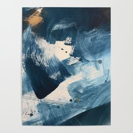 Against the Current: A bold, minimal abstract acrylic piece in blue, white and gold Poster