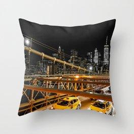 New York city: yellow cabs on Brooklyn bridge Throw Pillow