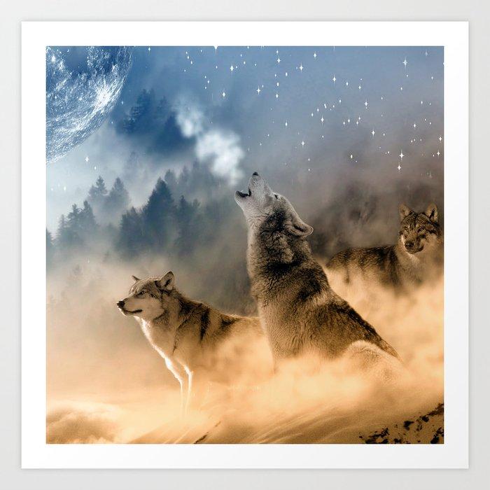 Fantasy Wolf Wolves Animal Art Print