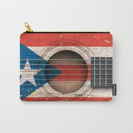 Old Vintage Acoustic Guitar with Puerto Rican Flag Carry-All Pouch