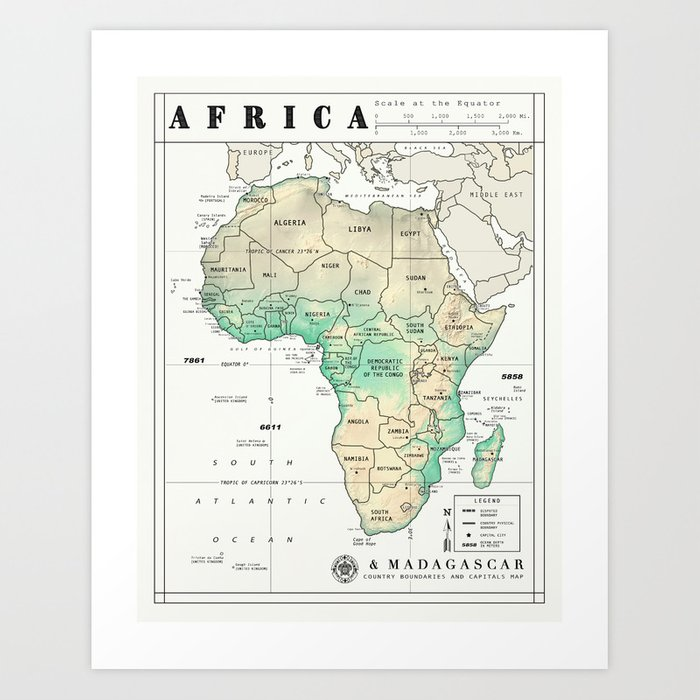 Map Of Africa Madagascar.Africa And Madagascar Map Print Art Print By Kokuadesigncompany