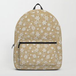 Festive Gold and White Christmas Holiday Snowflakes Backpack