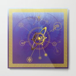 Aureum atom conjunctio spiritualis et luna symbola cum seges circuli Metal Print