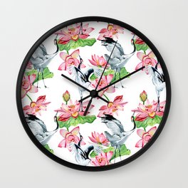 Pattern with cranes and lotuses Wall Clock
