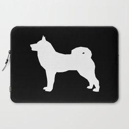Akita silhouette dog breed pattern minimal dog art black and white akitas Laptop Sleeve