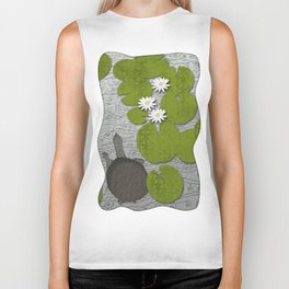 Water lilies with Florida Soft-shell Turtle Biker Tank