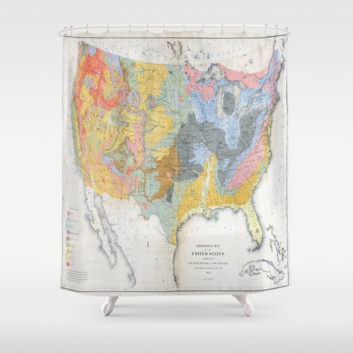 1874 Geological Map of the United States Shower Curtain by ...