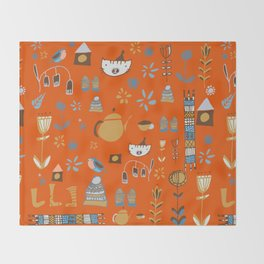 hygge cat and bird orange Throw Blanket