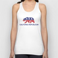 political Tank Tops featuring California Political Republican Bear Distressed by Republican