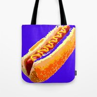 hot dog Tote Bags featuring Hot Dog by Del Vecchio Art by Aureo Del Vecchio