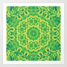 mystic mandala in green and yellow Art Print