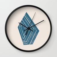 geode Wall Clocks featuring Geode I - in Sapphire by Amber Barkley