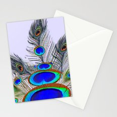 GREEN PEACOCK FEATHER & JEWELS #2 Stationery Cards
