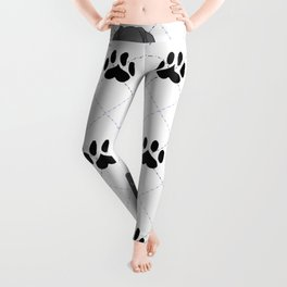 Blue Great Dane Paw Print Pattern Leggings
