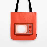 tv Tote Bags featuring television by brittcorry