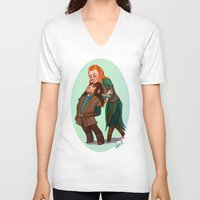 kili V-neck T-shirts featuring Tauriel and Kili by Hattie Hedgehog