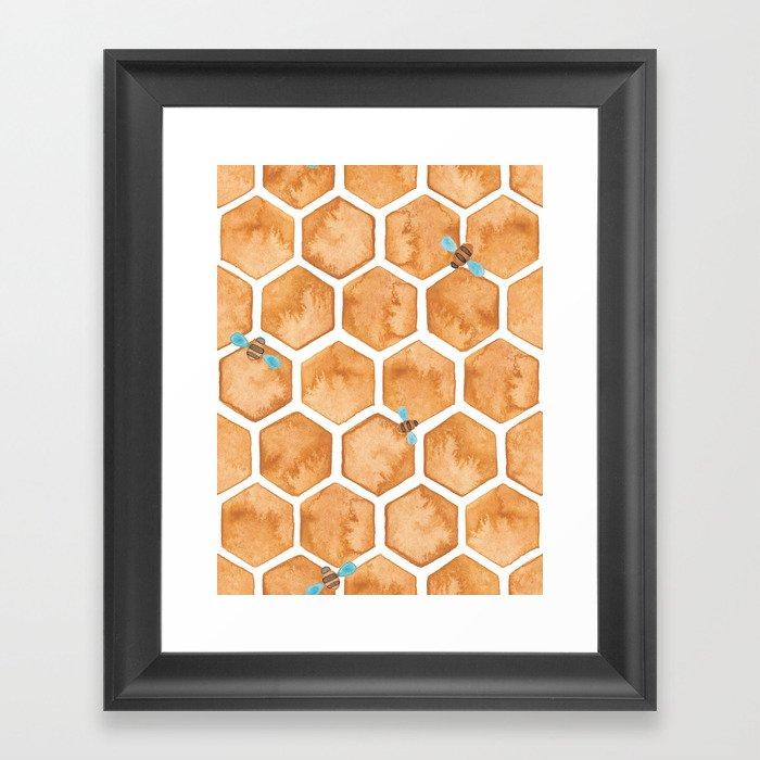 Honey Bee Hexagons Gerahmter Kunstdruck