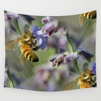 bees Wall Tapestries featuring Busy Bees by IowaShots
