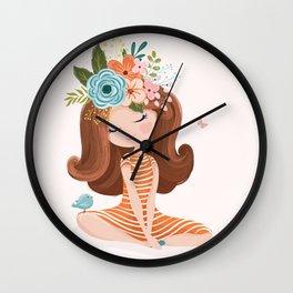 Lovely spring girl Wall Clock