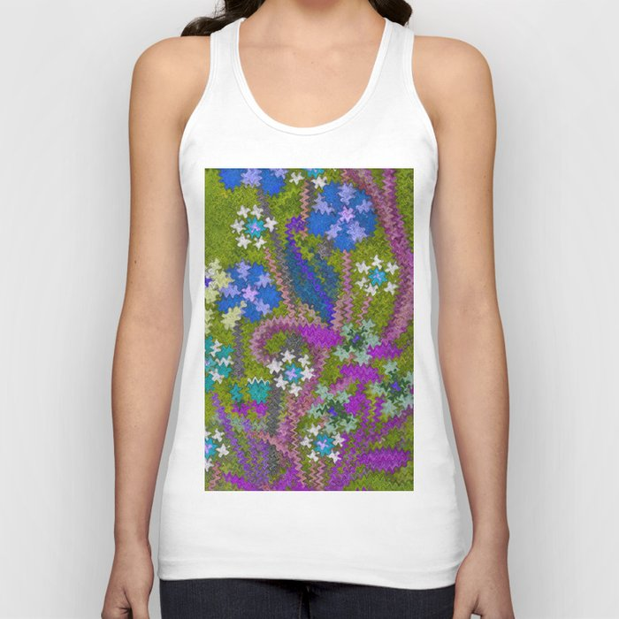 Starry Floral Felted Wool, Moss Green and Violet Unisex Tank Top