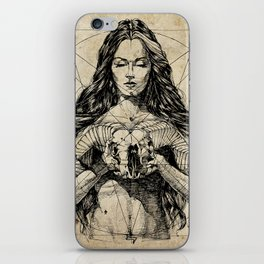 Lady With Skull. Ink on Paper. Юрий Фадеев. Yury Fadeev iPhone Skin