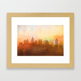 Atlanta, Georgia Skyline - In the Clouds Framed Art Print
