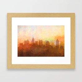 Atlanta, Georgia Skyline - In the Clouds Framed Art Print