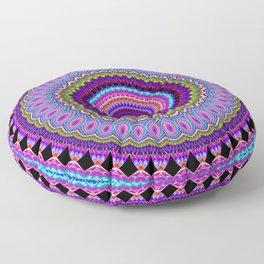 purple feathers Mandala Floor Pillow