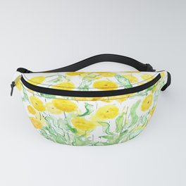 yellow florist daisy bunches watercolor  Fanny Pack