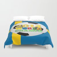 sweden Duvet Covers featuring 2014 World Champs Ball - Sweden by crouchingpixel