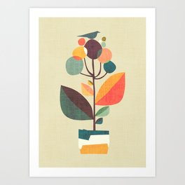 Potted plant with a bird Art Print